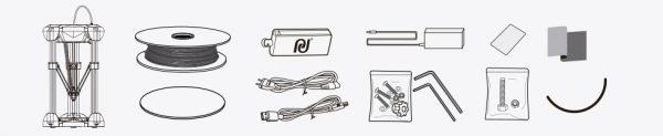 Impresora 3D COLIDO Delta D1315 PLUS contenido de la caja