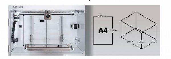 Impresora 3D TUMAKER NX Pro detalles de area de impresion